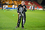 St Johnstone v Motherwell....31.10.14   SPFL<br /> Groundsman Chris Smith gets into the halloween spirt<br /> Picture by Graeme Hart.<br /> Copyright Perthshire Picture Agency<br /> Tel: 01738 623350  Mobile: 07990 594431