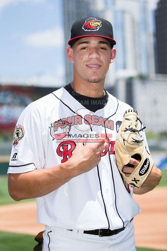Rochester Red Wings pitcher Jose Berrios (16) poses for a photo during Media Day for the 2016 Triple-A All-Star Game at BB&T BallPark on July 12, 2016 in Charlotte, North Carolina.   (Brian Westerholt/Four Seam Images)