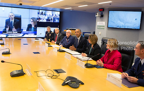 United States President Barack Obama makes a statement after receiving a briefing on Hurricane Matthew at the Federal Emergency Management Agency(FEMA) in Washington DC, October 5, 2016. <br /> Credit: Chris Kleponis / Pool via CNP