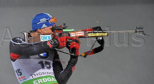07 01 2011   Oberhof IBU World Cup Biathlon Sprint Men 10km Michael Greis ger in the shooting regime of the  Biathlon World Cup 2010 2011