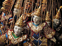 Finely decorated marionettes. Chiang Mai, Thailand. Horizontal image. Chiang Mai, Thailand.