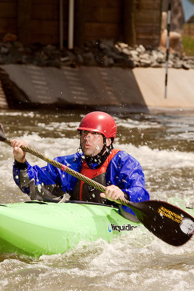 April 30, 2012. Charlotte, NC.. Erik Weihenmayer, who has been completely blind since age 13, is training at the United States National White Water Center in an attempt to kayak through the Grand Canyon. Weihenmayer is an accomplished outdoorsman who has climbed the 7 Summits, and is the only blind person to climb Mount Everest.