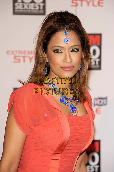 TASMIN KUCIA KHAN.The FHM 100 Sexiest Women for 2011 party, One Marylebone Rd., London, England..May 4th, 2011.headshot portrait orange red pink orange blue necklace earrings headband hair.CAP/PL.©Phil Loftus/Capital Pictures.