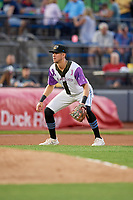 "Akron RubberDucks third baseman Nolan Jones (17) during an Eastern League game against the Erie SeaWolves on August 30, 2019 at Canal Park in Akron, Ohio.  Akron wore special jerseys with the slogan ""Fight Like a Kid"" during the game for Akron Children's Hospital Home Run for Life event, the design was created by 11 year old Macy Carmichael.  Erie defeated Akron 3-2.  (Mike Janes/Four Seam Images)"
