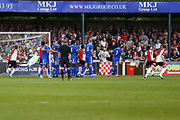 Armani Little (R) (8) of Woking scores the first goal for his team from a free kick during Woking vs Welling United, Vanarama National League South Promotion Play-Off Final Football at The Laithwaite Community Stadium on 12th May 2019