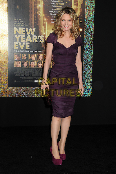 Michelle Pfeiffer.'New Year's Eve' Los Angeles premiere at  Grauman's Chinese Theatre, Hollywood, California, USA..5th December 2011.full length dress red velvet shoes purple clutch bag .CAP/ADM/BP.©Byron Purvis/AdMedia/Capital Pictures.
