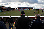 Dagenham and Redbridge 1 Burton Albion 3, 21/02/2015. Victoria Road, League Two. View from the uncovered home terrace. Burton Albion moved to the top of League Two following a hard-fought win over Dagenham & Redbridge played in-front of 1,718 supporters. Photo by Simon Gill.