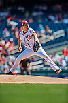 14 April 2018: Washington Nationals starting pitcher Max Scherzer on the mound against the Colorado Rockies at Nationals Park in Washington, DC. Scherzer struck out 11 batters in his 7 innings of work as the Nationals rallied to defeat the Rockies 6-2 in the 3rd game of their 4-game series. Mandatory Credit: Ed Wolfstein Photo *** RAW (NEF) Image File Available ***