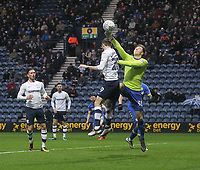 Preston North End's Tom Barkuizen jumps with Leeds United's Bailey Peacock-Farrell<br /> <br /> Photographer Mick Walker/CameraSport<br /> <br /> The EFL Sky Bet Championship - Preston North End v Leeds United - Tuesday 10th April 2018 - Deepdale Stadium - Preston<br /> <br /> World Copyright &copy; 2018 CameraSport. All rights reserved. 43 Linden Ave. Countesthorpe. Leicester. England. LE8 5PG - Tel: +44 (0) 116 277 4147 - admin@camerasport.com - www.camerasport.com