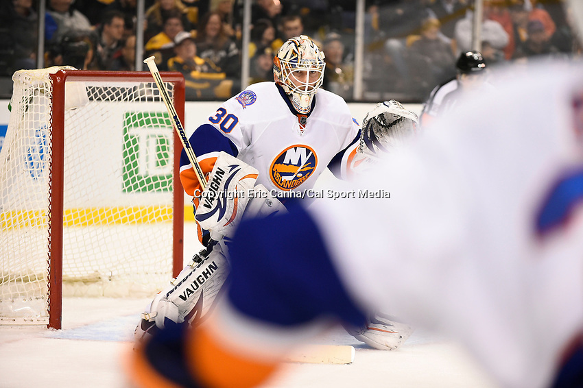 February 7, 2015 - Boston, Massachusetts, U.S. - New York Islanders goalie Chad Johnson (30) in game action during the NHL game between the New York Islanders and the Boston Bruins held at TD Garden in Boston Massachusetts. The Bruins defeated the Islanders 2-1 in regulation time. Eric Canha/CSM