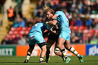 David Denton of Leicester Tigers takes on the Worcester Warriors defence. Gallagher Premiership match, between Leicester Tigers and Worcester Warriors on September 21, 2018 at Welford Road in Leicester, England. Photo by: Patrick Khachfe / JMP