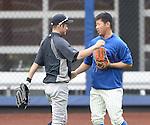 Ichiro Suzuki (Yankees), Daisuke Matsuzaka (Mets),<br /> MAY 15, 2014 - MLB :<br /> Ichiro Suzuki of the New York Yankees talks with Daisuke Matsuzaka of the New York Mets during practice before the Major League Baseball game at Citi Field in Flushing, New York, United States. (Photo by AFLO)