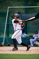 GCL Braves first baseman Ray Hernandez (46) hits a double during the second game of a doubleheader against the GCL Yankees West on July 30, 2018 at Champion Stadium in Kissimmee, Florida.  GCL Braves defeated GCL Yankees West 5-4.  (Mike Janes/Four Seam Images)
