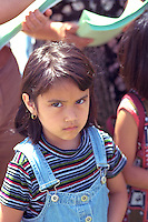 Angry girl age 5. In the Heart of the Beast May Day Festival and Parade Minneapolis  Minnesota USA