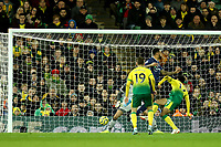 8th November 2019; Carrow Road, Norwich, Norfolk, England, English Premier League Football, Norwich versus Watford; Andre Gray of Watford scores with a back heel past keeper Krul of Norwich for 0-2 in the 52nd minute - Strictly Editorial Use Only. No use with unauthorized audio, video, data, fixture lists, club/league logos or 'live' services. Online in-match use limited to 120 images, no video emulation. No use in betting, games or single club/league/player publications