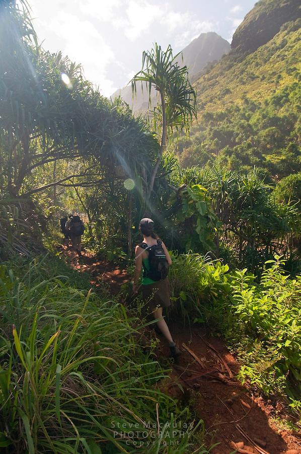 Hiking the Kalalau Trail along the Napali Coast, Kauai, Hawaii