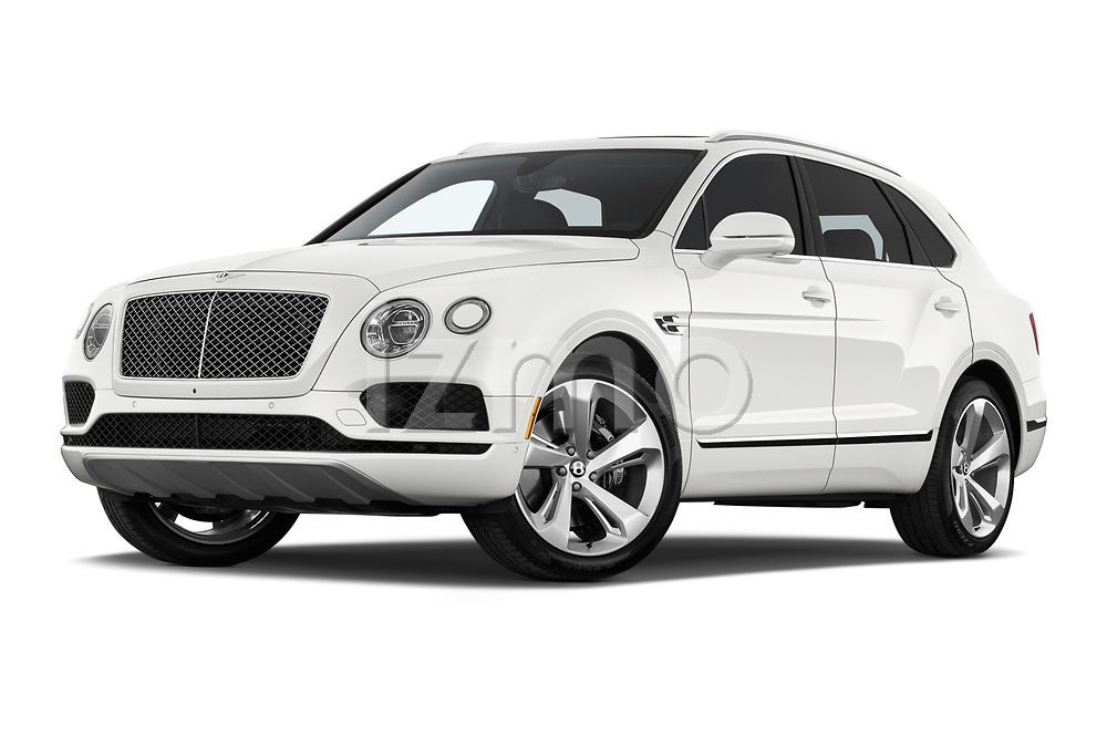 Stock pictures of low aggressive front three quarter view of a 2018 Bentley Bentayga Base 5 Door SUV