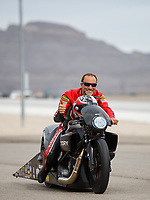 Oct 30, 2016; Las Vegas, NV, USA; NHRA pro stock motorcycle rider Matt Smith during the Toyota Nationals at The Strip at Las Vegas Motor Speedway. Mandatory Credit: Mark J. Rebilas-USA TODAY Sports