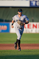 Hudson Valley Renegades outfielder Hill Alexander (18) jogs to the dugout during a NY-Penn League game against the Mahoning Valley Scrappers on July 15, 2019 at Eastwood Field in Niles, Ohio.  Mahoning Valley defeated Hudson Valley 6-5.  (Mike Janes/Four Seam Images)