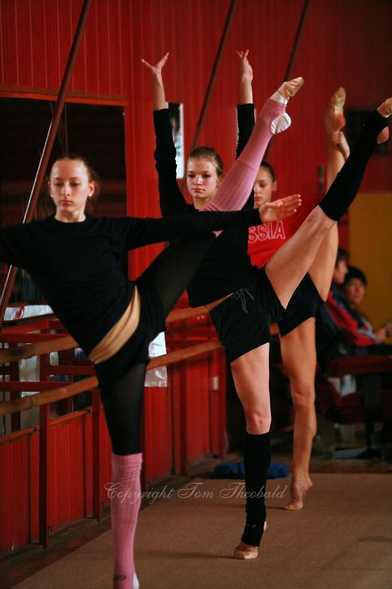 (L-R) Vera Sessina, Olga Kapranova, Marina Shpekt of Russia train ballet before Burgas Grand Prix Rhythmic Gymnastics on May 5, 2006.  (Photo by Tom Theobald)