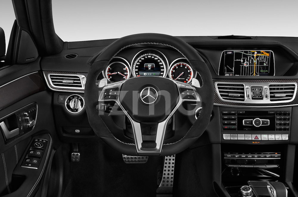 Car pictures of steering wheel view of a 2015 Mercedes Benz E Class E63 AMG S 5 Door Wagon Steering Wheel