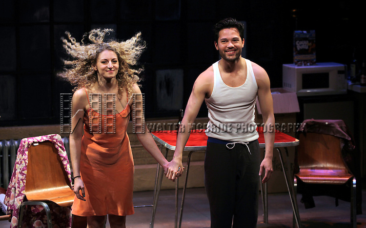 Lauren Molina and Jason Tam during the opening night performance curtain call for the Keen Company production of Marry Me A Little at the Clurman Theatre in New York City on10/2/2012.