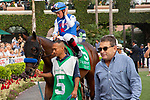 DEL MAR, CA  AUGUST 31: #5 Bast, ridden by Drayden Van Dyke, in the paddock before  the Del Mar Debutante (Grade l) on August 31, 2019 at Del Mar Thoroughbred Club in Del Mar, CA. ( Photo by Casey Phillips/Eclipse Sportswire/CSM)