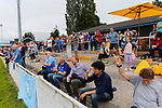 Yorkshire fans celebrating the 93rd minute goal scored by Brodie Litchfield, (not pictured). Yorkshire v Parishes of Jersey, CONIFA Heritage Cup, Ingfield Stadium, Ossett. Yorkshire's first competitive game. The Yorkshire International Football Association was formed in 2017 and accepted by CONIFA in 2018. Their first competative fixture saw them host Parishes of Jersey in the Heritage Cup at Ingfield stadium in Ossett. Yorkshire won 1-0 with a 93 minute goal in front of 521 people.