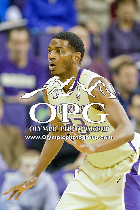 February 12, 2014:   Washington's C.J. Wilcox against Stanford.  Washington defeated Stanford 64-60 at Alaska Airlines Arena in Seattle, Washington.