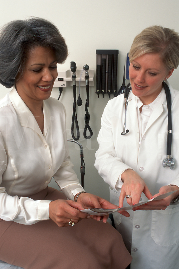 A woman patient talks to her physician during an office visit. Health care professionals.