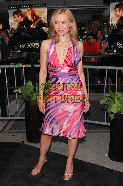 "OKSANA BAIUL.Premiere of the new film ""The Island"", at the Ziegfeld Theater in Manhattan, New York, New York..July 11th, 2005.Photo Credit: Patti Ouderkirk/AdMedia.Olympic Champion figure skater full length pink purple pattern print halterneck dress.www.capitalpictures.com.sales@capitalpictures.com.© Capital Pictures."