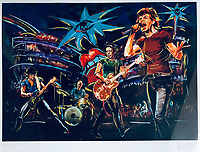 BNPS.co.uk (01202 558833)<br /> Pic: OmegaAuctions/BNPS<br /> <br /> PICTURED: Paintings of the Rolling Stones feature in the auction<br /> <br /> A huge collection of artwork by legendary Rolling Stones singer Ronnie Wood has emerged for sale for a whopping £25,000.<br /> <br /> The group of 49 prints have been created by the 72-year-old rocker over a number of years and depict a host of famous faces.<br /> <br /> Among the celebrities to be given the artist's treatment are the likes of Mohammed Ali, Elvis Presley and even his own bandmates.