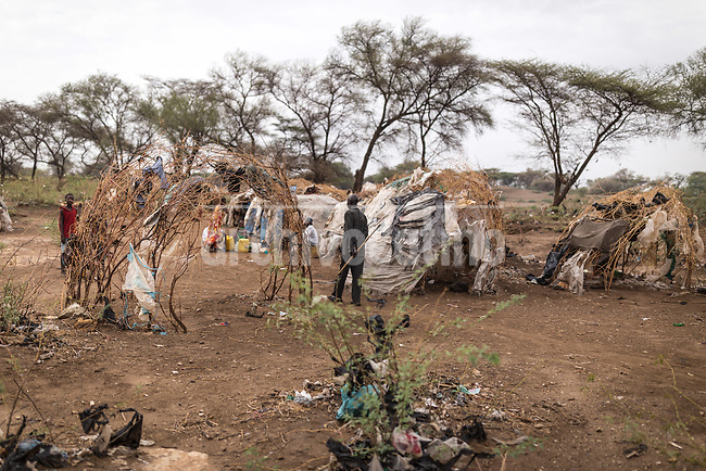 Hut made with cardboard and paper in Kakuma refugee camp in Kenya.Kakuma refugee camp in North of Kenya. Kakuma is the site of a UNHCR refugee camp, established in 1991. The population of Kakuma town was 60,000 in 2014, having grown from around 8,000 in 1990. In 1991, the camp was established to host the 12,000 unaccompanied minors who had fled the war in Sudan and came walking from camps in Ethiopia.