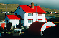House with red roof at Port Howard, Falkland Islands, south Atlantic.