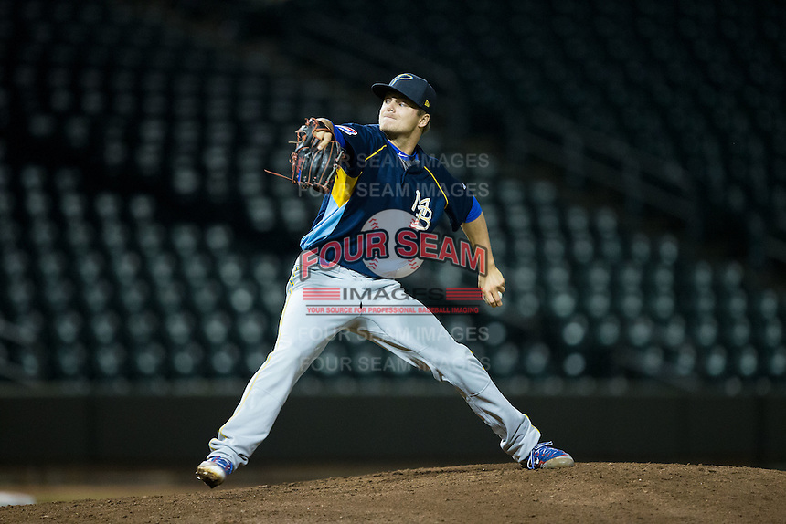 Myrtle Beach Pelicans pitcher Tommy Thorpe (6) in action against the Winston-Salem Dash at BB&T Ballpark on May 2, 2016 in Winston-Salem, North Carolina.  The Pelicans defeated the Dash 3-2 in 11 innings.  (Brian Westerholt/Four Seam Images)