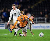 Hull City's Jackson Irvine is fouled by Swansea City's Ben Wilmot<br /> <br /> Photographer Chris Vaughan/CameraSport<br /> <br /> The EFL Sky Bet Championship - Hull City v Swansea City -  Friday 14th February 2020 - KCOM Stadium - Hull<br /> <br /> World Copyright © 2020 CameraSport. All rights reserved. 43 Linden Ave. Countesthorpe. Leicester. England. LE8 5PG - Tel: +44 (0) 116 277 4147 - admin@camerasport.com - www.camerasport.com