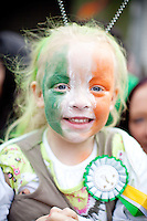 17/3/2011. ST PATRICKS DAY DUBLIN. 3 yr old Olivia O Neill is pictured on College Green enjoying the Dublin St Patricks Day Parade. Picture James Horan/Collins Photos