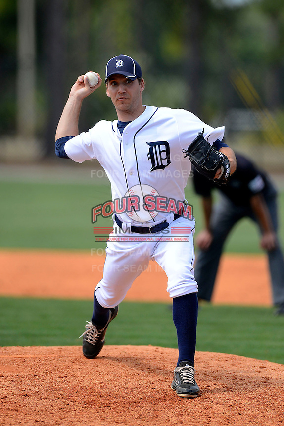 Detroit Tigers pitcher Slade Smith #24 during a minor league Spring Training game against the Washington Nationals at Tiger Town on March 22, 2013 in Lakeland, Florida.  (Mike Janes/Four Seam Images)