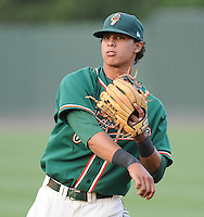 Infielder Noah Perio (2) of the Greensboro Grasshoppers, Class A affiliate of the Florida Marlins, prior to a game against the Greenville Drive on April 26, 2011, at Fluor Field at the West End in Greenville, South Carolina. (Tom Priddy/Four Seam Images)