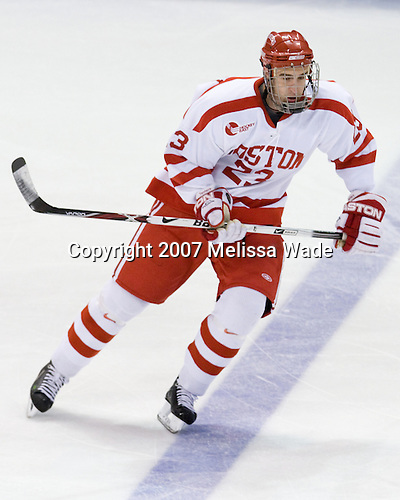 Ryan Monaghan (BU 23) - The Boston University Terriers defeated the US National Team Development Program Under-18s 3-2 on Saturday, December 8, 2007, at Agganis Arena in Boston, Massachusetts.