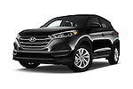 Stock pictures of low aggressive front three quarter view of 2016 Hyundai Tucson SE 5 Door Suv Low Aggressive