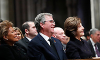 Columba Bush, Jeb Bush and Laura Bush listen as former President George W. Bush speaks during the State Funeral for former President George H.W. Bush, at the National Cathedral, Wednesday, Dec. 5, 2018, in Washington <br /> Credit: Alex Brandon / Pool via CNP / MediaPunch
