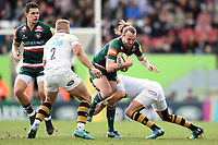 Sam Harrison of Leicester Tigers takes on the Wasps defence. Aviva Premiership match, between Leicester Tigers and Wasps on March 25, 2018 at Welford Road in Leicester, England. Photo by: Patrick Khachfe / JMP