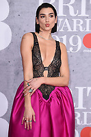 LONDON, UK. February 20, 2019: Dua Lipa arriving for the BRIT Awards 2019 at the O2 Arena, London.<br /> Picture: Steve Vas/Featureflash<br /> *** EDITORIAL USE ONLY ***