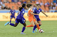 Houston, TX - Saturday June 17, 2017: Andressa and Marta Vieira Da Silva battle for control of the ball  during a regular season National Women's Soccer League (NWSL) match between the Houston Dash and the Orlando Pride at BBVA Compass Stadium.