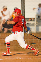 Matthew Adams #54 of the Johnson City Cardinals follows through on his swing versus the Burlington Royals at Howard Johnson Stadium June 27, 2009 in Johnson City, Tennessee. (Photo by Brian Westerholt / Four Seam Images)