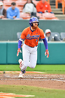 Clemson Tigers third baseman Grayson Byrd (4) runs to first base during a game against the North Carolina Tar Heels at Doug Kingsmore Stadium on March 9, 2019 in Clemson, South Carolina. The Tigers defeated the Tar Heels 3-2 in game one of a double header. (Tony Farlow/Four Seam Images)