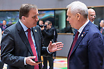 BRUSSELS - BELGIUM - 21 June 2019 -- European Council, summit meeting with heads of state. -- Stefan Löfven Prime Minister of Sweden with Antti Rinne Prime Minister of Finland, Mario Centeno president of the Eurogroup and Donald Tusk President of the European Council. -- PHOTO: Juha ROININEN / EUP-IMAGES