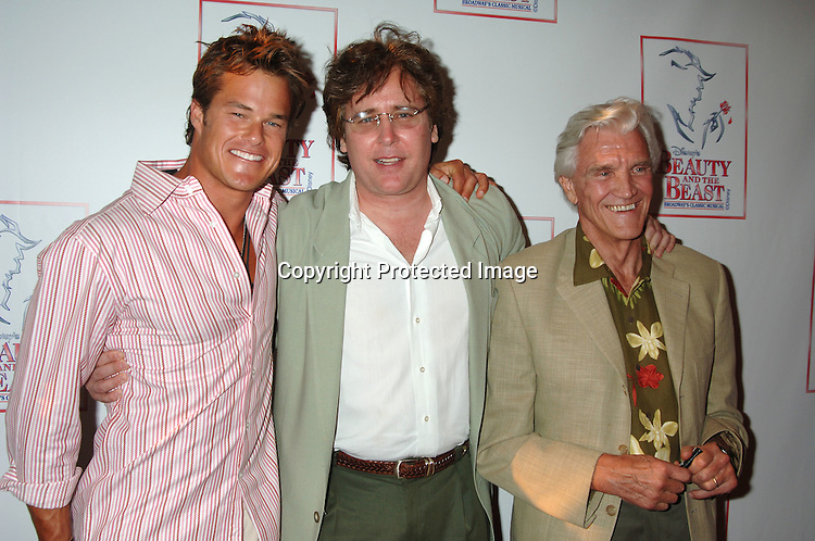 "Alec Musser, Michael E Knight and David Canary..at The 5000th performance of ""Beauty and The Beast""..on June 20, 2006 at The Lunt-Fontanne Theatre...Jacob Young of All My Children is starring as Lumiere. ..Robin Platzer, Twin Images"