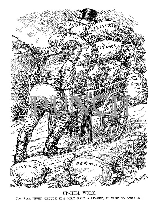 "Up-Hill Work. John Bull. "" Even though it's only half a league, it must go onward."""